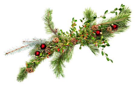 Holiday garland with ornaments, pine & spruce branches, pine cones and evergreen with berries