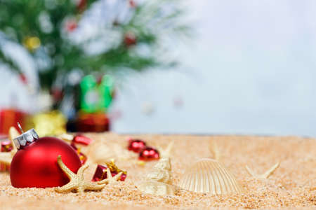 Christmas ornaments and shells in the sand
