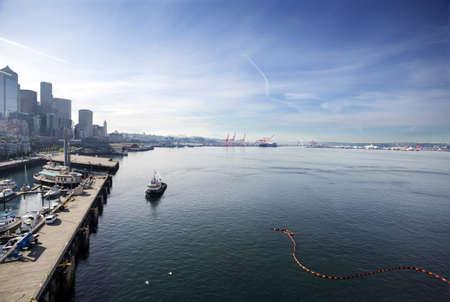 Early Sunday morning in Elliot Bay, Seattle, Washington photo