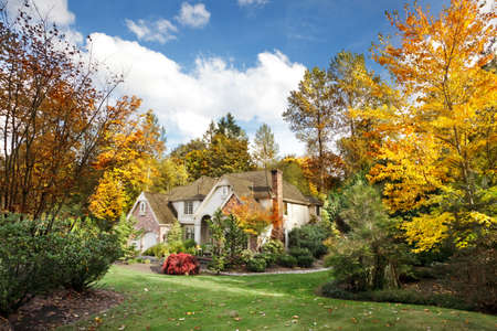Suburban home in Autumn sunshine as the leaves turn orange & yellow Stock Photo - 9821901