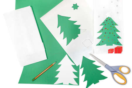 Construction paper, pencil and scissors to make Christmas crafts Stock Photo - 9829935