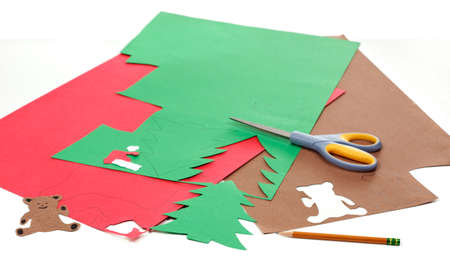 Construction paper, pencil and scissors to make Christmas crafts Stock Photo - 9829937