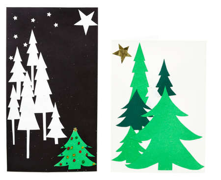 Gift bag and card with construction paper Christmas Trees photo