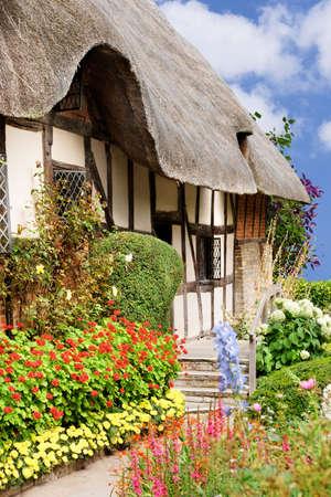 cottage: Coloridas flores en un d�a brillante de verano