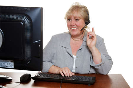 Mature customer service representative with headset  photo