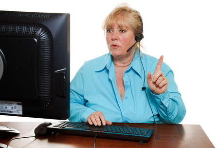 customer service representative: Mature customer service representative with headset  Stock Photo