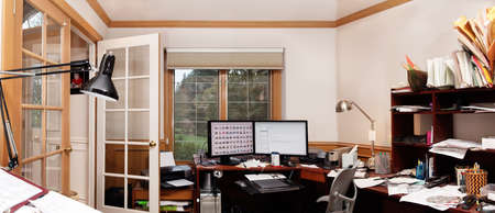 Panoramic view of a home office photo