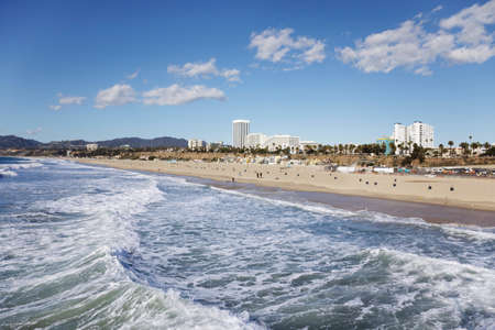 southern california: Santa Monica beach from the pier on a sunny Winter day