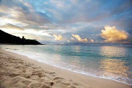 Early morning sun rising at Morning Star Beach, St. Thomas Stock Photo