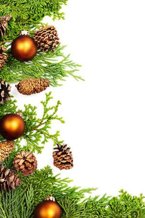 pomme de pin: Cadre de branches de pin & sapin, pin et d�corations de No�l Banque d'images