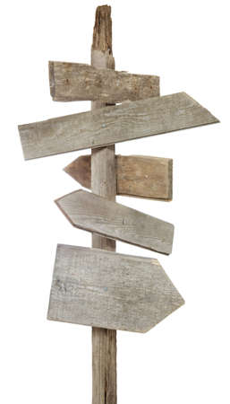 wood texture: Rough hewn wood signs pointing in various directions