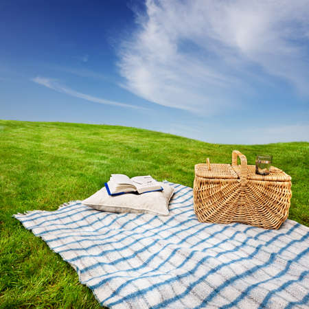 Relaxing with a picnic and a good book in a quiet meadow photo