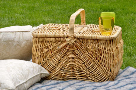 Picnic basket, blanket & cushions photo