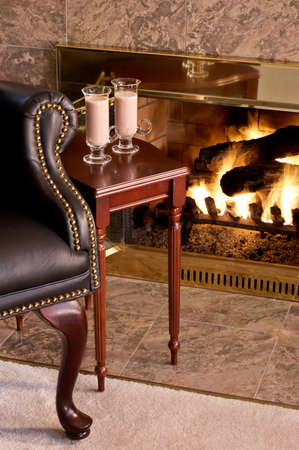comfortable: Comfy chair by the fire