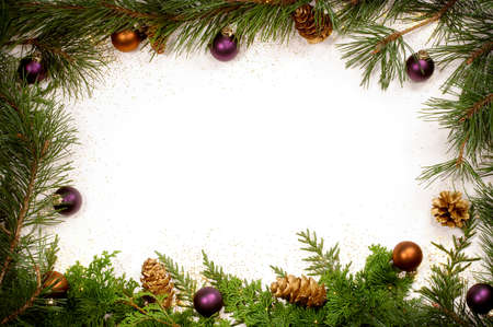 Christmas greenery and decorations - purple and gold Stock Photo - 9859835