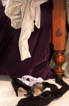 panty hose: Shoes and clothes left in haste...