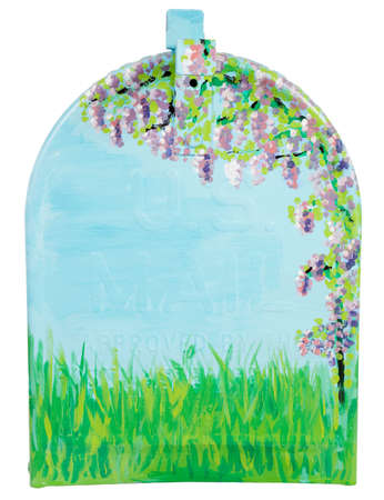 Hand painted wisteria flowers & grass on a mailbox photo