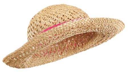 straw hat: Cappello di paglia isolato, inclinato