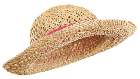 chapeau de paille: Isolated straw hat, tilted