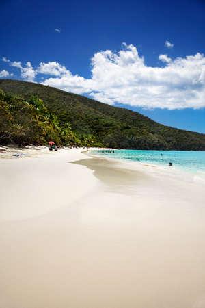 st john: Wide white sand beach at Trunk Bay, St John