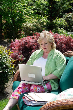 telecommute: Working on the laptop outside Stock Photo