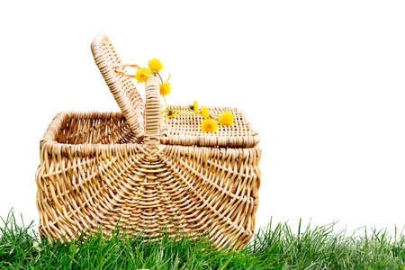 Isolated wicker picnic basket with dandelion chain photo