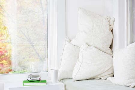Window seat with cushions, book and mug; fall view photo