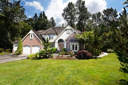Suburban house in summer sunshine