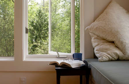 overlooking: Reading area overlooking the woods