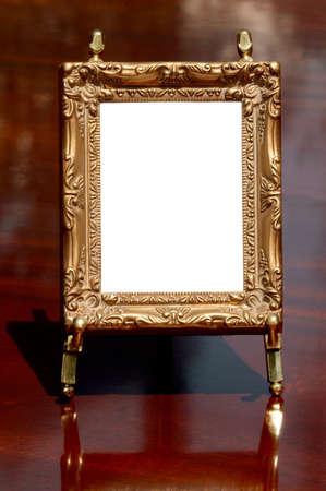 caoba: Placecard, invitation or frame on polished mahogany.