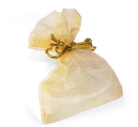 mesh: Gold mesh gift bag Stock Photo