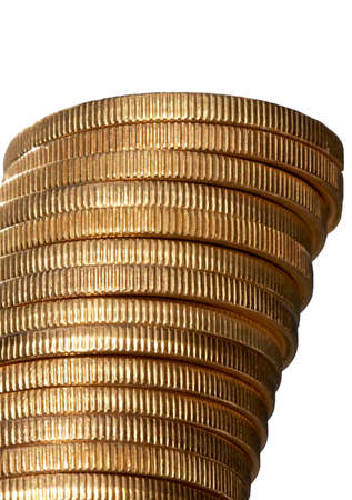 Stack of gold coins, isolated photo