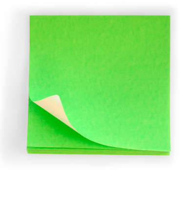is green: Pad of fluorescent green sticky notes