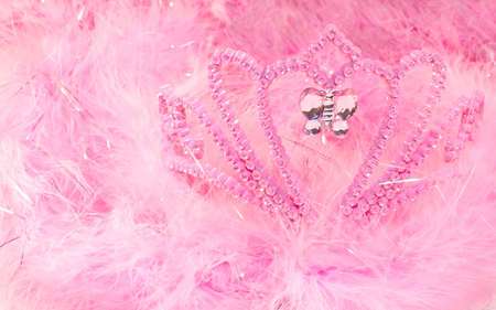 dressup: Pink feather boas and dress-up tiara Stock Photo