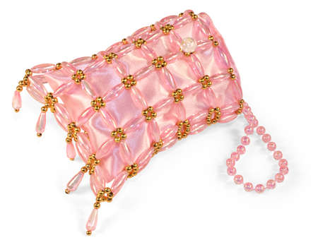 garish: Garish pink beaded dress-up purse