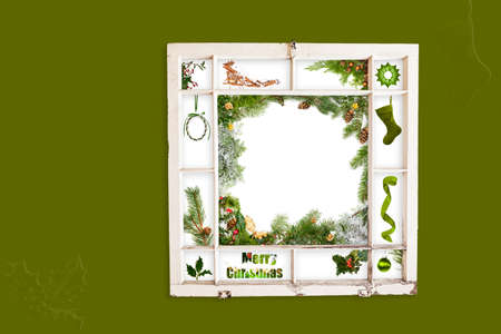 old items: Grungy old window frame with collage of Christmas items. Clipping path for frame Stock Photo