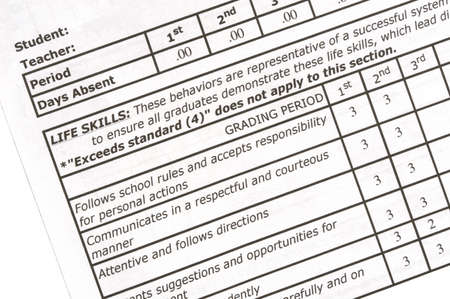 report card: Section of elementary school report card