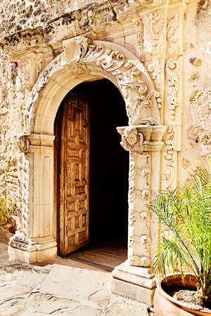 church ruins: Open doorway to chapel at Mission San Jose, San Antonio