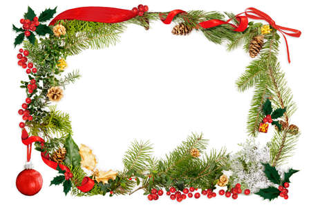 pine cone: Christmas collage of drawn elements with foliage frame