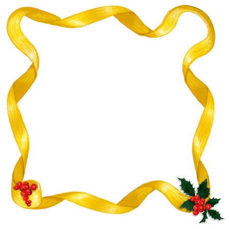 ribbons: Shiny gold ribbon border, with holly & berry accents