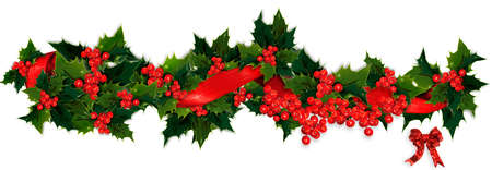 christmas garland: Holly, berry and ribbon Christmas garland Stock Photo
