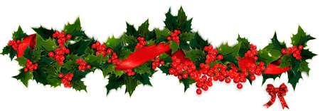 slingers: Holly, bessen en lint Kerst guirlande Stockfoto