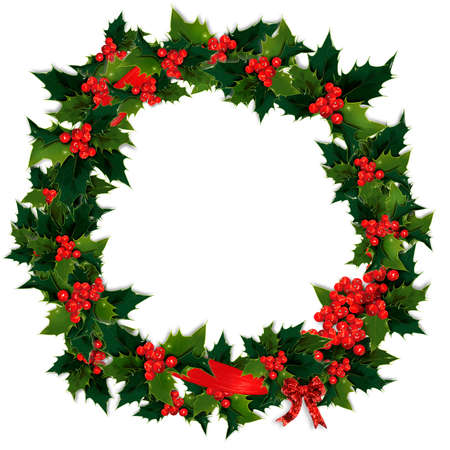 christmas wreath: Circular holly, berry and ribbon Christmas wreath