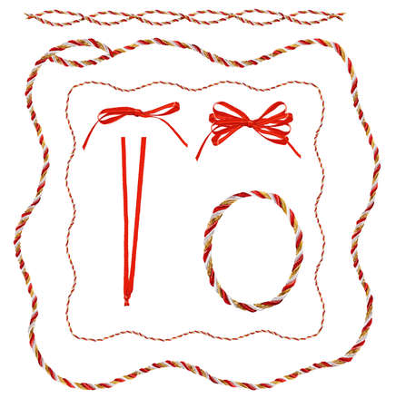 ribbons: Red, gold and white twisted braid illustration in various borders and shapes.