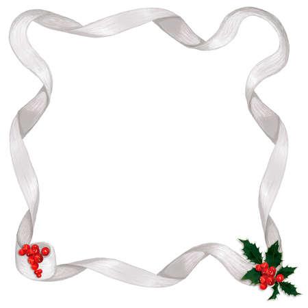 silver ribbon: Shiny silver ribbon border, with holly & berry accents Stock Photo