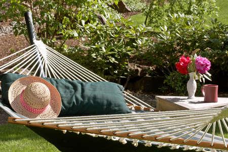 in hammock: Hammock time! Stock Photo