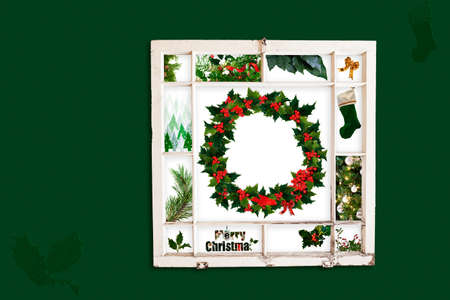 old items: Grungy old window frame with collage of green Christmas items. Clipping path for frame Stock Photo