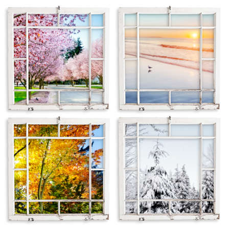 Spring, summer, fall and winter views through grungy window frames. photo