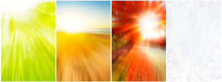 Four seasons backgrounds of blurred spring growth,beach, vivid foliage and ice crystals Stock Photo