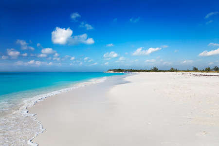 The white sands of secluded Half Moon Bay, Turks & Caicos Islands, are accessible only by boat photo